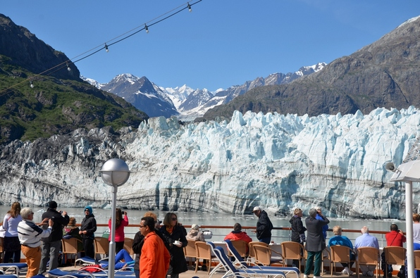 The MS Satatendam sliding by the glaciers.