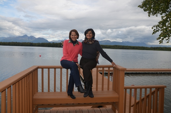 Las primas in Wassila at the lake where Sarah Palin lives.